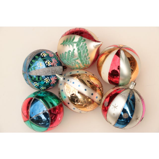 Glass Giant Vintage Blown Glass Ornaments - Set of 6 For Sale - Image 7 of 7