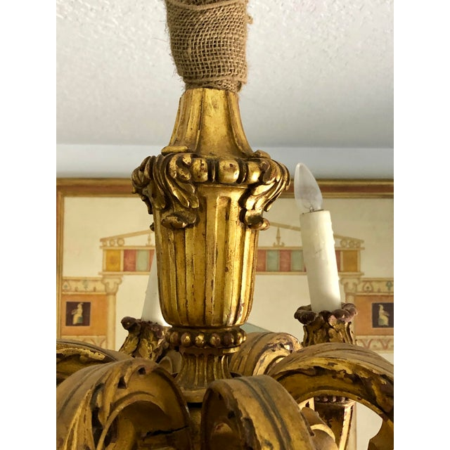 Mid 19th Century Mid 19th Century Italian Carved Gilt Wood Chandelier For Sale - Image 5 of 13