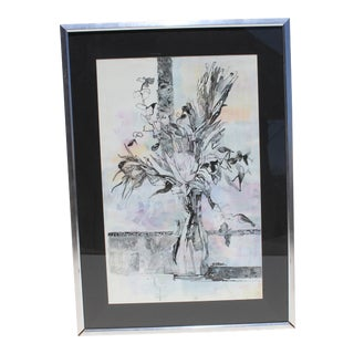 Mid-Century Modern India Ink and Watercolor Still Life Painting by B. Stroud For Sale