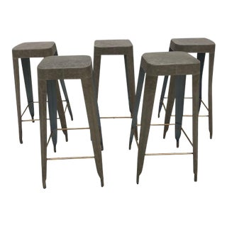 Made Goods Barstool Leather Jamy Barstools - Set of 5 For Sale