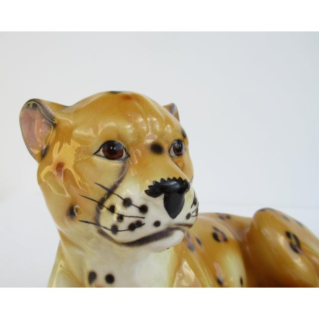 Hollywood Regency Italian Porcelain Ceramic Hand-Painted Leopard in Repose For Sale - Image 11 of 13