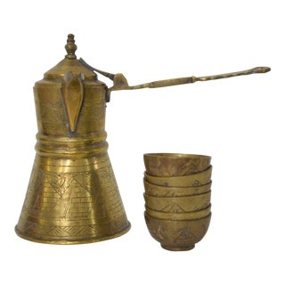 Vintage Turkish Brass Tea or Coffee Service- 7 Pieces For Sale