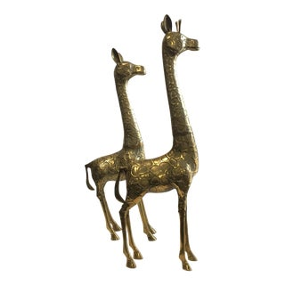 Vintage Large Brass Giraffes - A Pair For Sale