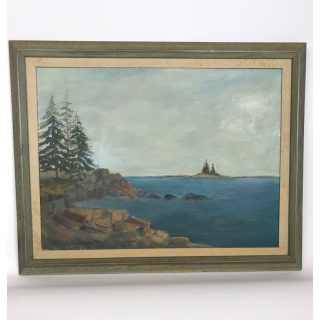 1960s Vintage Scenic Ocean Oil on Canvas Painting For Sale - Image 11 of 11