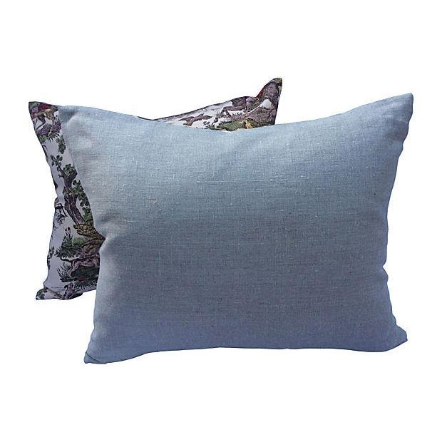 French Toile Hunt Scene Pillows - A Pair For Sale - Image 4 of 5