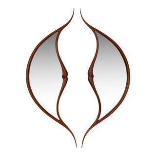 Studio Craft Movement Carved Sculptural Walnut Wall Mirrors, Mark Levin - a Pair For Sale