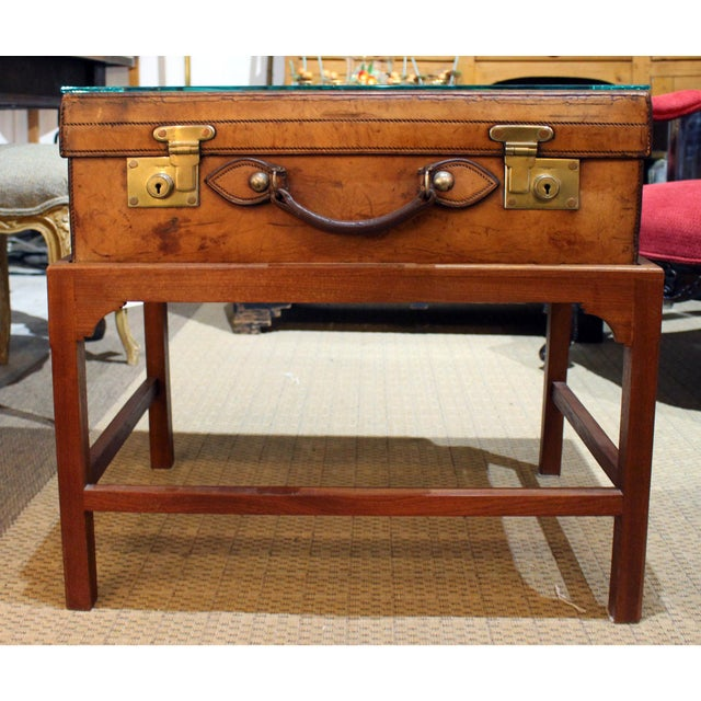 Wood English Leather Suitcase on Stand For Sale - Image 7 of 7