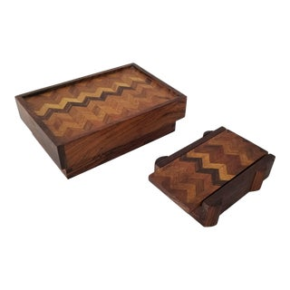 Mid-Century Decorative Wood Boxes With Geometric Pattern . For Sale