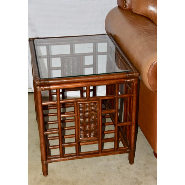1980s Vintage McGuire Style Bamboo Rattan Glass Top Tables- Set of 3 For Sale - Image 10 of 12