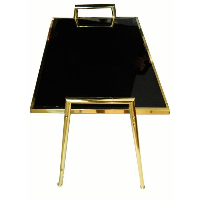 Mid-Century Modern Vintage Brass & Black Glass Nesting Tables - Set of 3 For Sale - Image 3 of 5