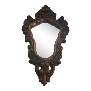 1960s Vintage Carved Wood Rococo Style Wall Mirror For Sale