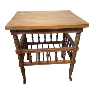 Antique Pine Side/End Table or Magazine Rack For Sale