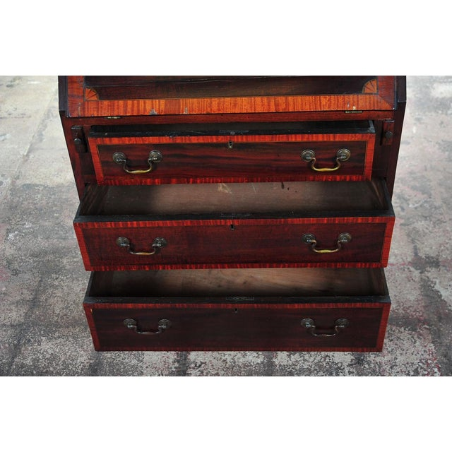 Mid 19th Century 19th C. English Inlaid Mahogany Drop Desk For Sale - Image 5 of 11