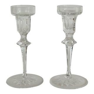 1970s Modern Cut Crystal Glass Candlesticks - a Pair For Sale