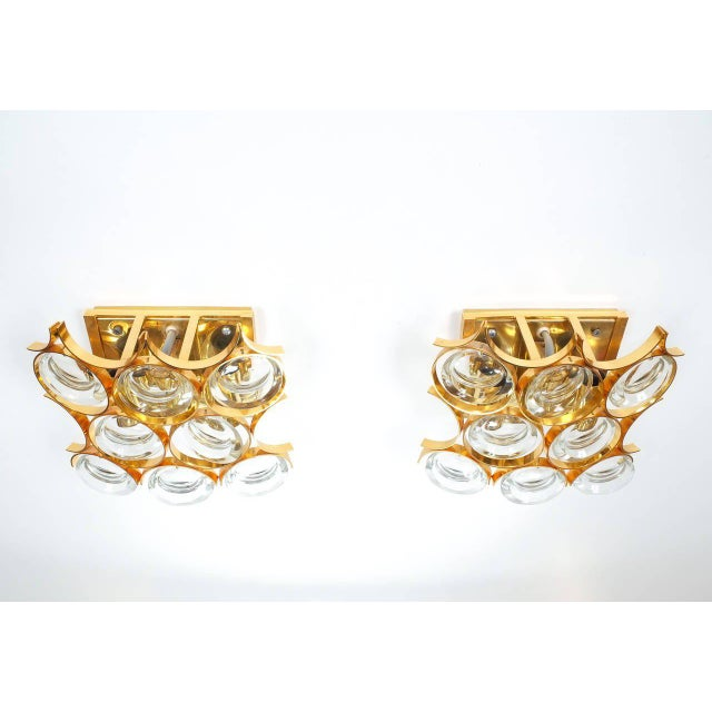 1960s Pair of Gilded Brass and Crystal Sconces by Palwa For Sale - Image 5 of 7