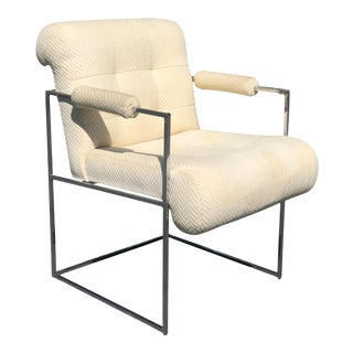 Mid-Century Modern Milo Baughman for Thayer Coggin Chrome Accent Chair For Sale