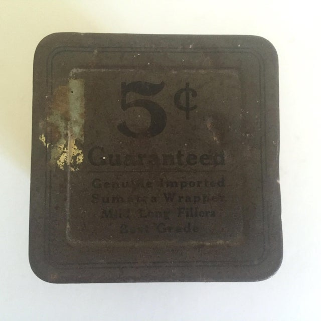 "Vintage Early 1900's ""Boucher's Handmade"" Tobacco Tin Box For Sale - Image 9 of 11"