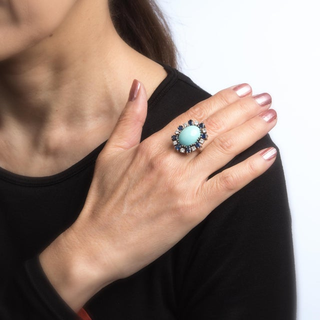 Vintage Turquoise Sapphire Diamond Ring 18 Karat White Gold Estate Fine Jewelry For Sale In Los Angeles - Image 6 of 7