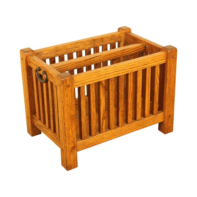 Mission Style Solid Oak Magazine Stand For Sale - Image 12 of 12