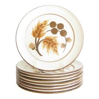 Vintage Denby Cotswold Pottery Dinner Plates With Brown Leaves Design - Set of 8 For Sale