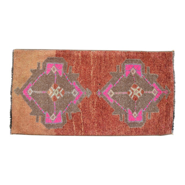 Hand Knotted Low Pile Rug Turkish Rug Door Mat Entryway Mat Bath Rug - 18'' X 35'' For Sale