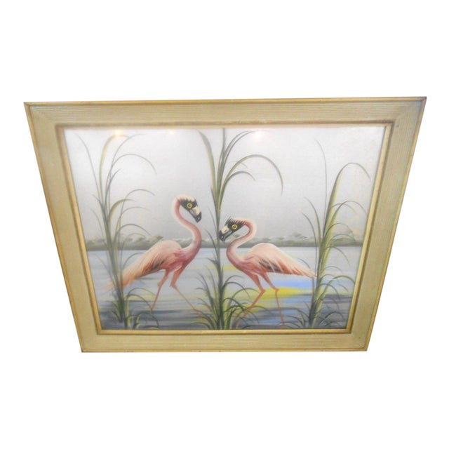 Vintage Retro Pink Flamingos Hand Painted Wall Art, 1950s For Sale