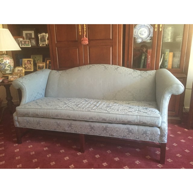 Traditional Style Blue Camelback Sofa/Settee - Image 2 of 4