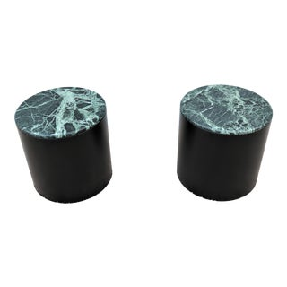 Mid Century Modern Paul Mayen Style Green Marble Top Drum Side Tables - a Pair For Sale