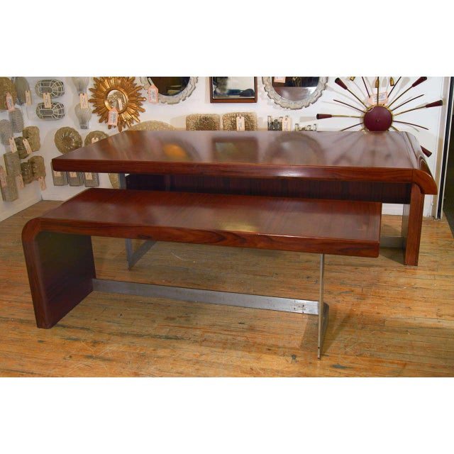 Incredible Striated Danish Modern Rosewood and Brushed Steel Large Streamlined Desk with Partner Desk that Nests...