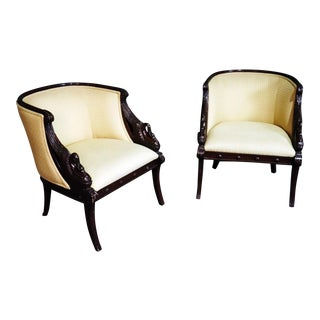 French Empire Revival Style Mahogany Club Chairs - a Pair For Sale
