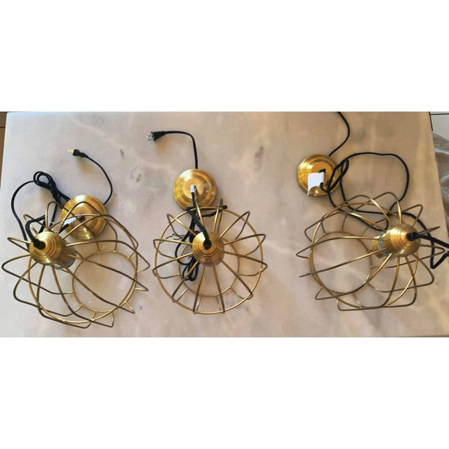 Brass Caged Dome Pendant Lights by Kalalou For Sale - Image 9 of 13