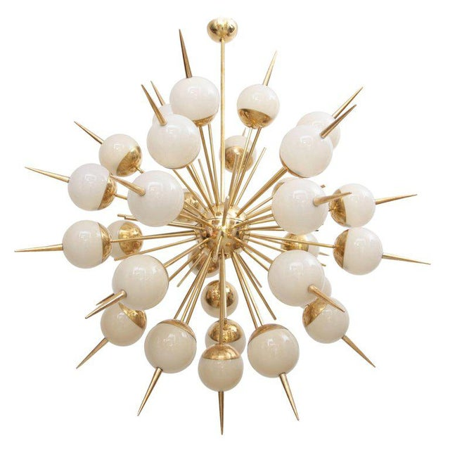 Metal 1 of 2 Huge Sputnik Murano Glass and Brass Chandelier Attributed to Stilnovo For Sale - Image 7 of 7
