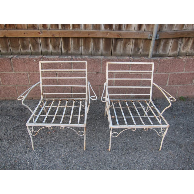 White Mid-Century Patio Chairs - A Pair - Image 2 of 3