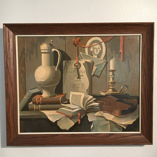 1968 Still Life Paint by Number Framed Painting - Image 6 of 6