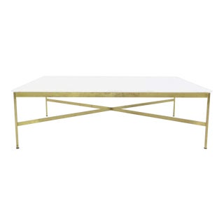 Paul McCobb Brass and Vitrolite Coffee Table For Sale