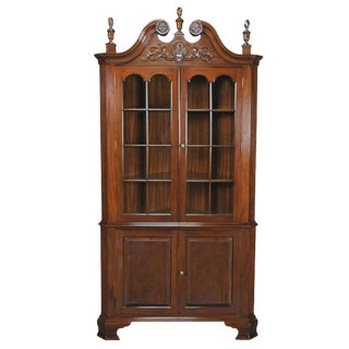 Carved Mahogany Corner Cabinet For Sale
