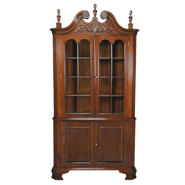 Carved Mahogany Corner Cabinet For Sale
