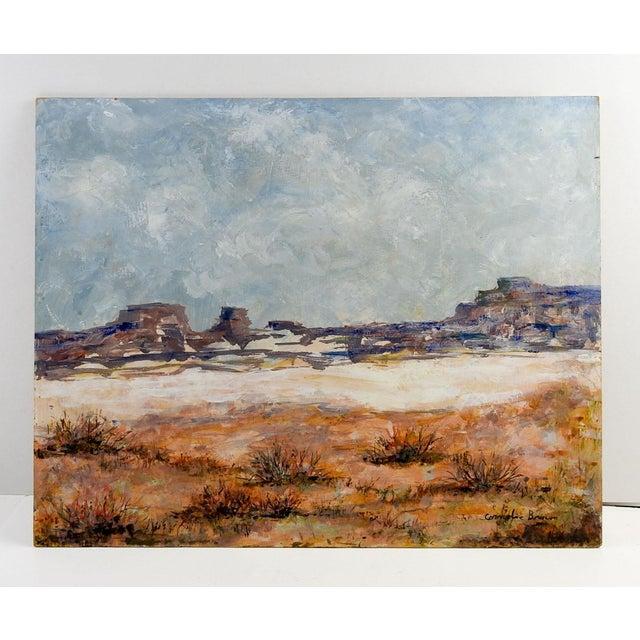 Oil on Masonite of rocky desert landscape. Signed Cornelia Brown lower right corner. Unframed, edge wear.