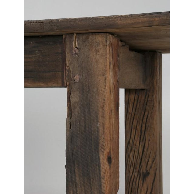 Brown Antique French Rustic Industrial Work Table For Sale - Image 8 of 11