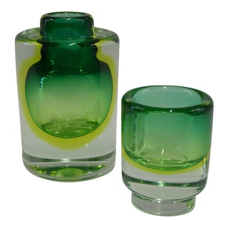 1950s Cenedese Mid-Century Modern Sommerso Uranium Glass Vessels - A Pair For Sale