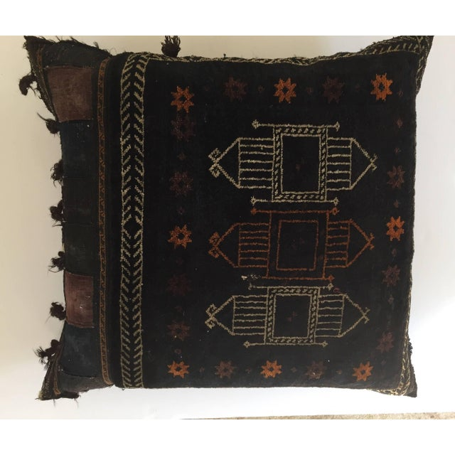 1880s Handwoven Afghan Baluch Saddle Tribal Bag, Large Floor Pillow For Sale - Image 10 of 13