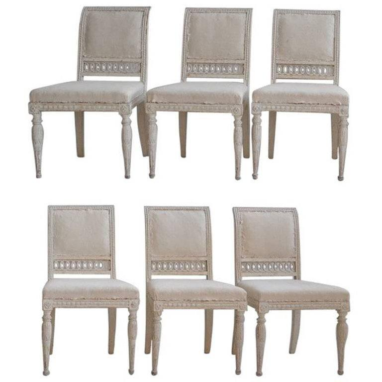 Beau Tan 18th Century Swedish Gustavian Original Paint Chairs From Stockholm    Set Of 6 For Sale