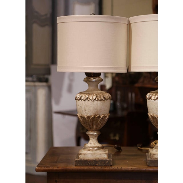 Italian Carved Wood Polychrome and Painted Urn Shape Table Lamps - a Pair For Sale In Dallas - Image 6 of 13