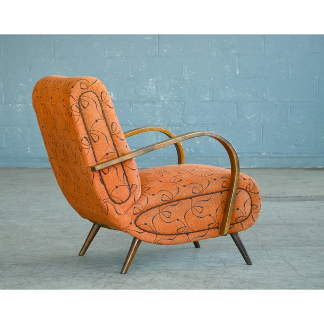 1950s Paolo Buffa Style Midcentury Italian Lounge Chair For Sale - Image 5 of 9