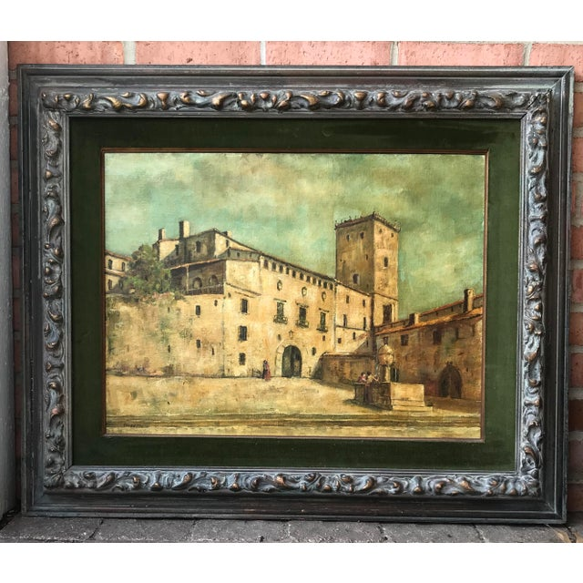 Vintage Mid-Century Medieval Spanish Village Original Signed Oil Painting For Sale - Image 11 of 11