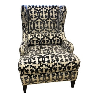 Traditional Black and White Textile Wingback Chair