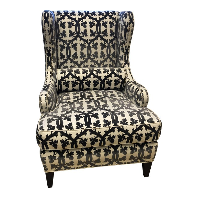 Traditional Black and White Textile Wingback Chair For Sale
