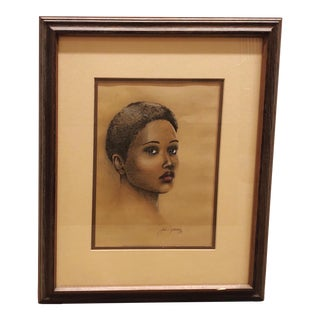 Vintage Pastel Portrait of a Black Woman For Sale