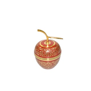 1970s Boho Chic Brass Apple Paperweight Cloisonne Apple Box For Sale