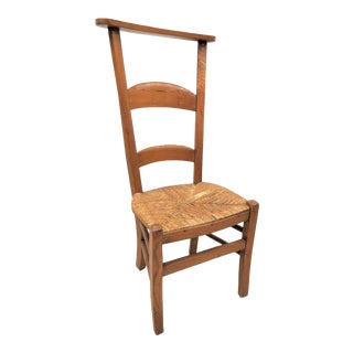 Antique French Oak Prayer Chair With Rush Seat For Sale